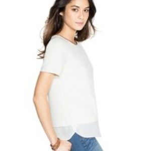 WHITE HOUSE BLACK MARKET Textured SS Boxy Top